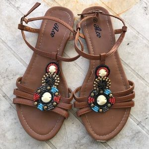 🛍 3/$20 - Ardene Beaded Boho Gladiator Sandals